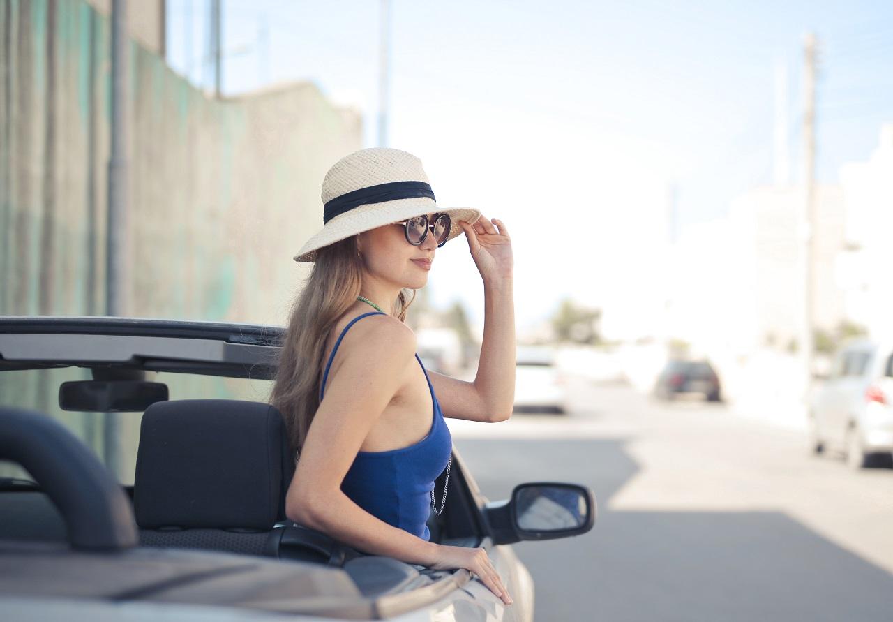 stylish female on a convertible